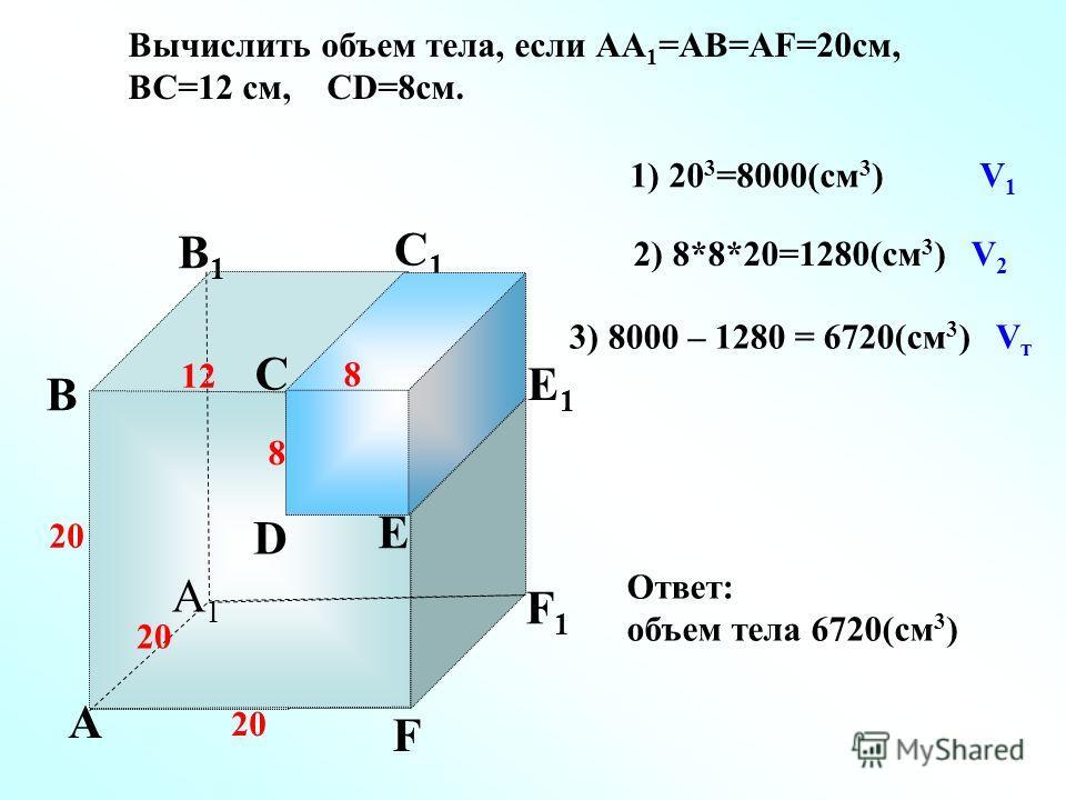 А А1А1 В С D E F F1F1 E1E1 D1D1 С1С1 В1В1 Вычислить объем тела, если АА 1 =АВ=АF=20 см, ВС=12 см, СD=8 см. 12 8 20 1) 20 3 =8000(см 3 ) V 1 8 20 2) 8*8*20=1280(см 3 ) V 2 3) 8000 – 1280 = 6720(см 3 ) V т Ответ: объем тела 6720(см 3 )