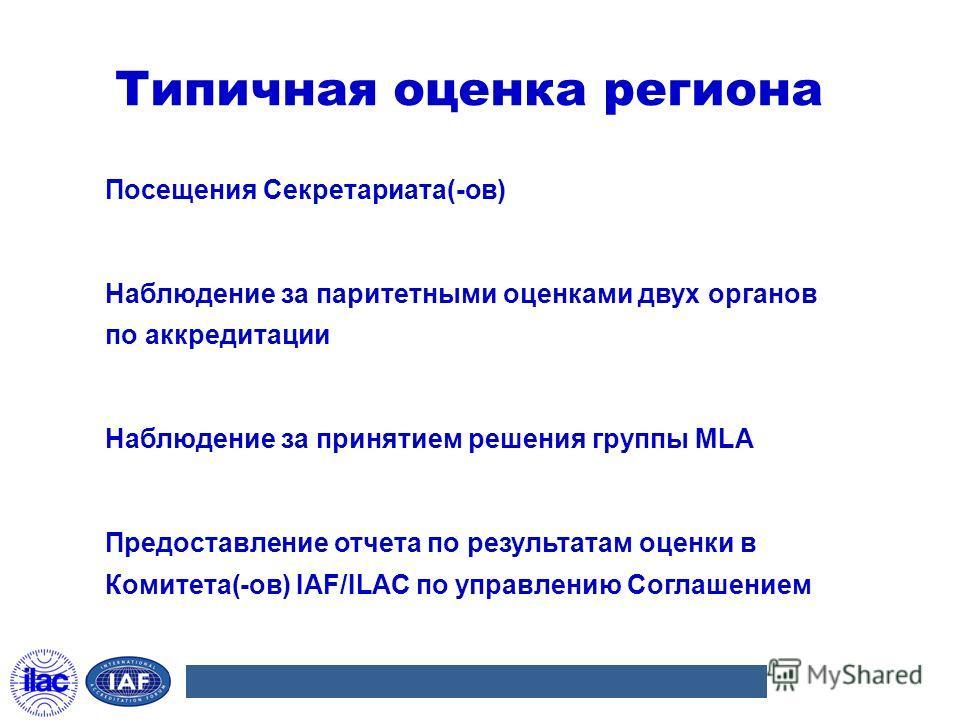 Типичная оценка региона Посещения Секретариата(-ов) Наблюдение за паритетными оценками двух органов по аккредитации Наблюдение за принятием решения группы MLA Предоставление отчета по результатам оценки в Комитета(-ов) IAF/ILAC по управлению Соглашен