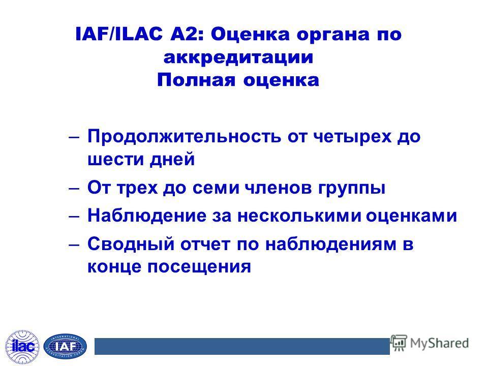 IAF/ILAC A2: Оценка органа по аккредитации Полная оценка –Продолжительность от четырех до шести дней –От трех до семи членов группы –Наблюдение за несколькими оценками –Сводный отчет по наблюдениям в конце посещения