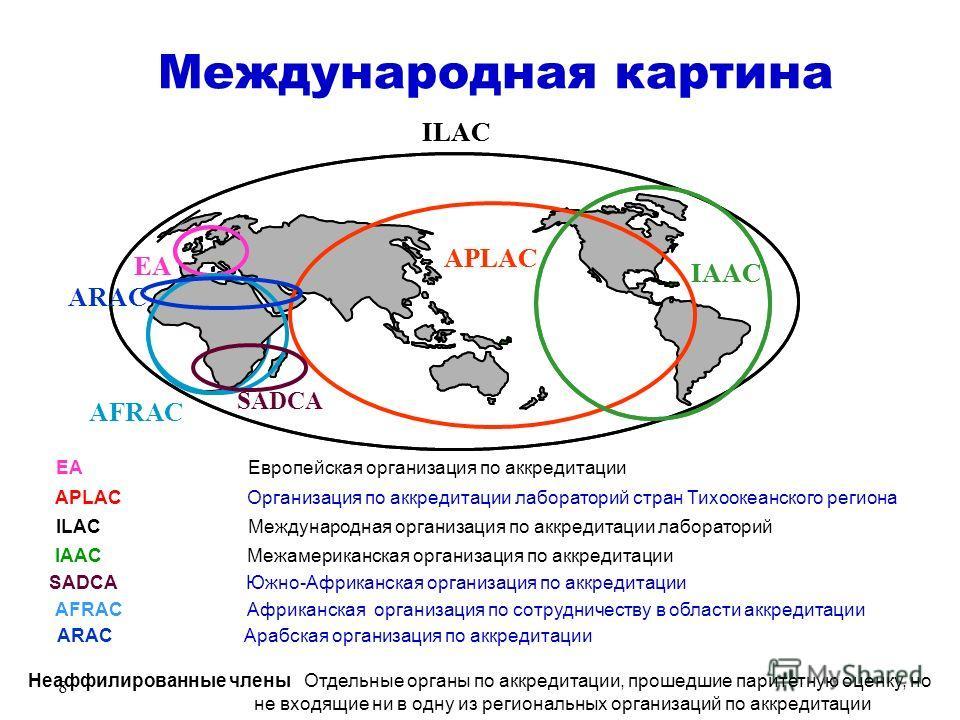 8 ILAC EA APLAC IAAC SADCA Международная картина ILACМеждународная организация по аккредитации лабораторий EAЕвропейская организация по аккредитации APLACОрганизация по аккредитации лабораторий стран Тихоокеанского региона IAACМежамериканская организ