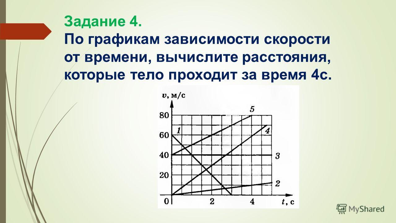 Задание 4. По графикам зависимости скорости от времени, вычислите расстояния, которые тело проходит за время 4 с.
