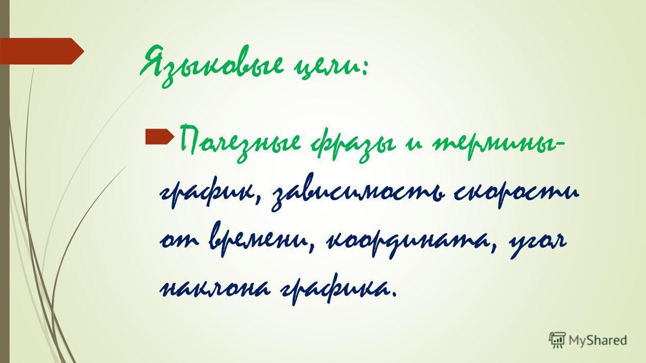 Языковые цели: Полезные фразы и термины- график, зависимость скорости от времени, координата, угол наклона графика.