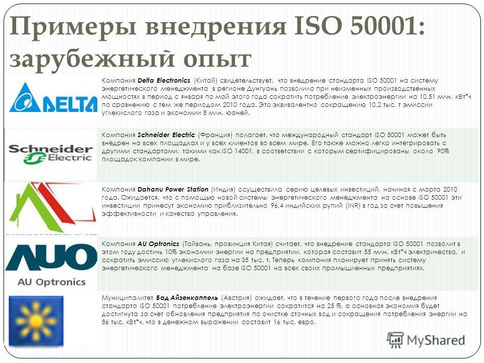 Примеры внедрения ISO 50001: зарубежный опыт Компания Delta Electronics (Китай) свидетельствует, что внедрение стандарта ISO 50001 на систему энергетического менеджмента в регионе Дунгуань позволило при неизменных производственных мощностях в период