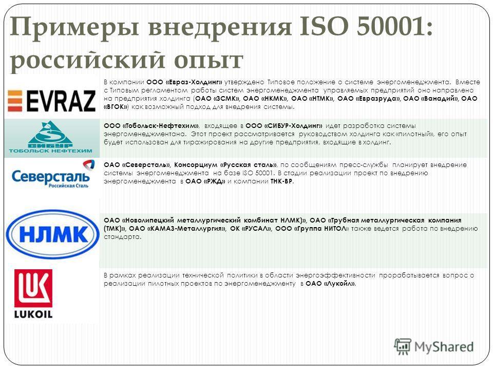 Примеры внедрения ISO 50001: российский опыт В компании ООО «Евраз-Холдинг» утверждено Типовое положение о системе энергоменеджмента. Вместе с Типовым регламентом работы систем энергоменеджмента управляемых предприятий оно направлено на предприятия х