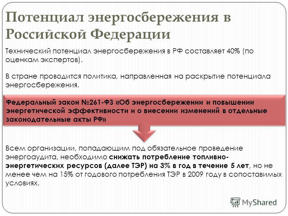 Потенциал энергосбережения в Российской Федерации Технический потенциал энергосбережения в РФ составляет 40% (по оценкам экспертов). В стране проводится политика, направленная на раскрытие потенциала энергосбережения. Федеральный закон 261-ФЗ «Об эне