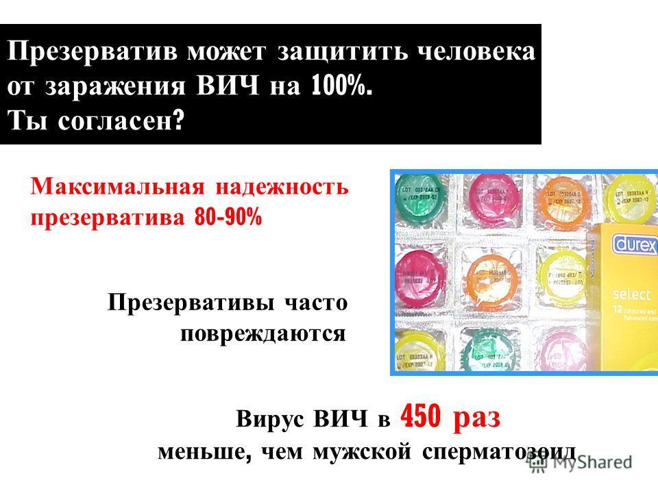 Презерватив может защитить человека от заражения ВИЧ на 100%. Ты согласен ? Максимальная надежность презерватива 80-90% Вирус ВИЧ в 450 раз меньше, чем мужской сперматозоид Презервативы часто повреждаются