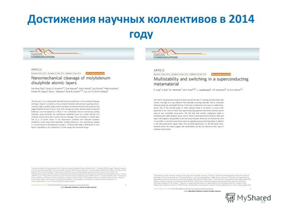 Достижения научных коллективов в 2014 году 33