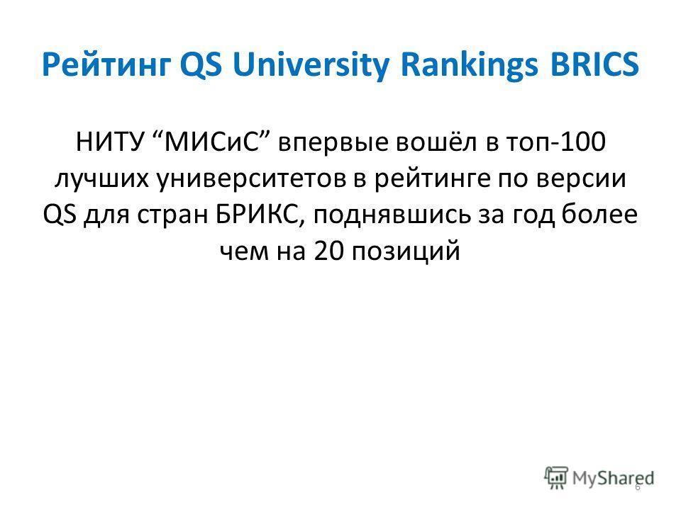 Рейтинг QS University Rankings BRICS НИТУ МИСиС впервые вошёл в топ-100 лучших университетов в рейтинге по версии QS для стран БРИКС, поднявшись за год более чем на 20 позиций 6