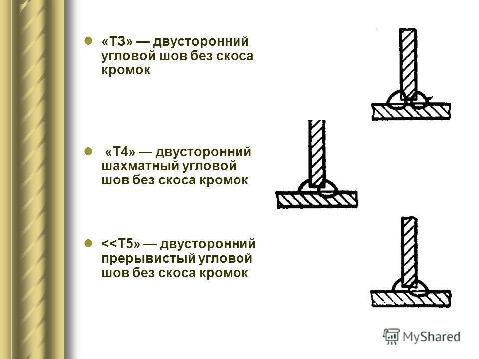 «ТЗ» двусторонний угловой шов без скоса кромок «Т4» двусторонний шахматный угловой шов без скоса кромок