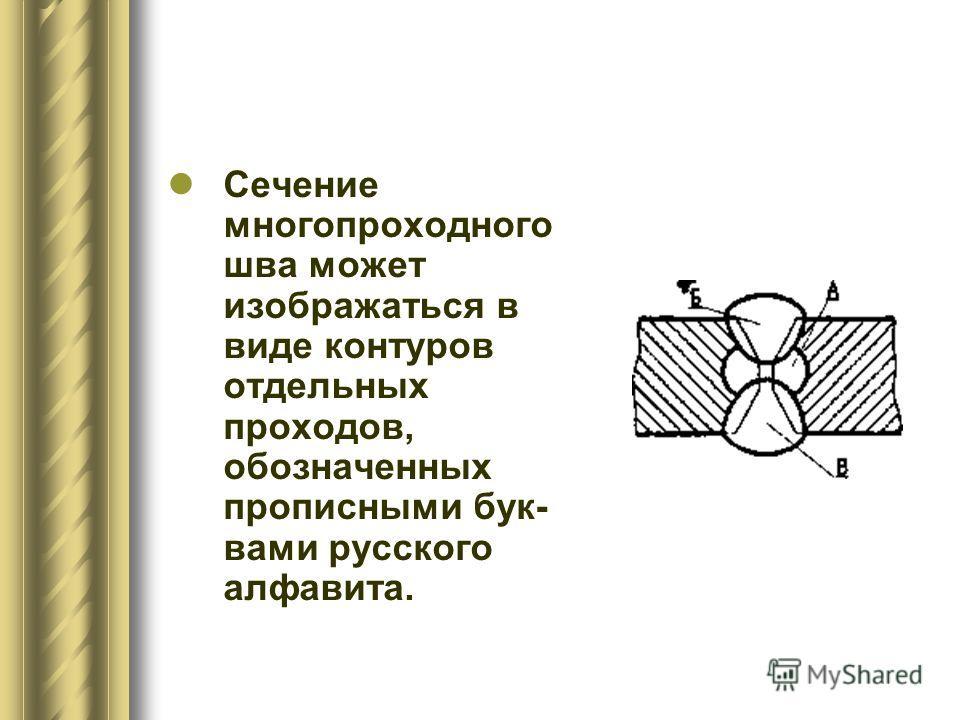 Сечение многопроходного шва может изображаться в виде контуров отдельных проходов, обозначенных прописными бук- вами русского алфавита.