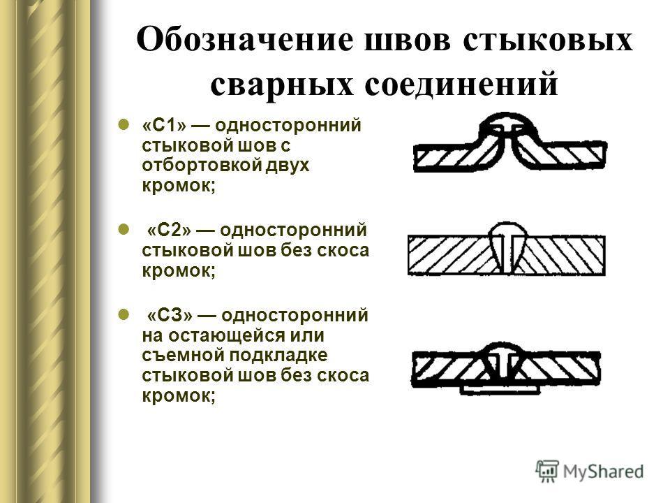 Обозначение швов стыковых сварных соединений «С1» односторонний стыковой шов с отбортовкой двух кромок; «С2» односторонний стыковой шов без скоса кромок; «СЗ» односторонний на остающейся или съемной подкладке стыковой шов без скоса кромок;