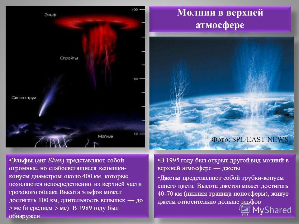 Молнии в верхней атмосфере В 1995 году был открыт другой вид молний в верхней атмосфере джеты Джеты представляют собой трубки-конусы синего цвета. Высота джетов может достигать 40-70 км (нижняя граница ионосферы), живут джеты относительно дольше эльф