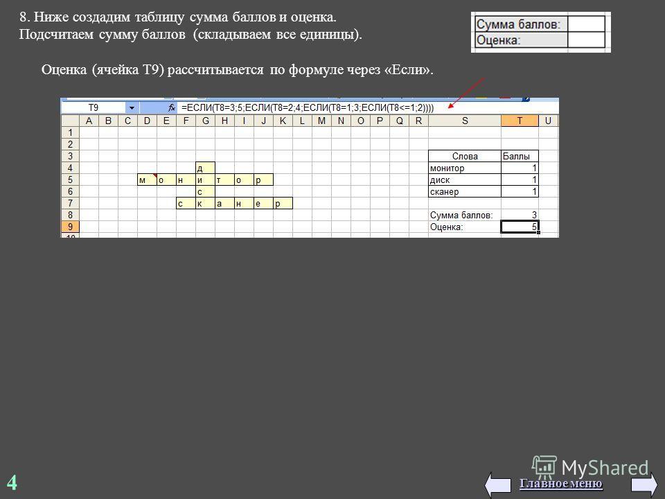 8. Ниже создадим таблицу сумма баллов и оценка. Подсчитаем сумму баллов (складываем все единицы). Оценка (ячейка T9) рассчитывается по формуле через «Если». 4 Главное меню Главное меню