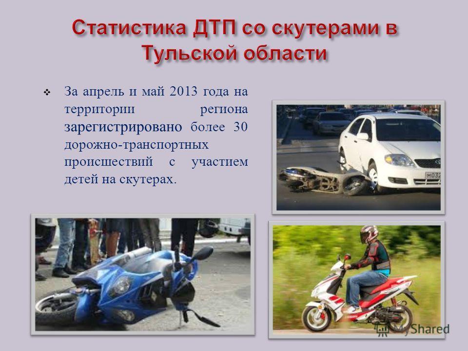 За апрель и май 2013 года на территории региона зарегистрировано более 30 дорожно - транспортных происшествий с участием детей на скутерах.