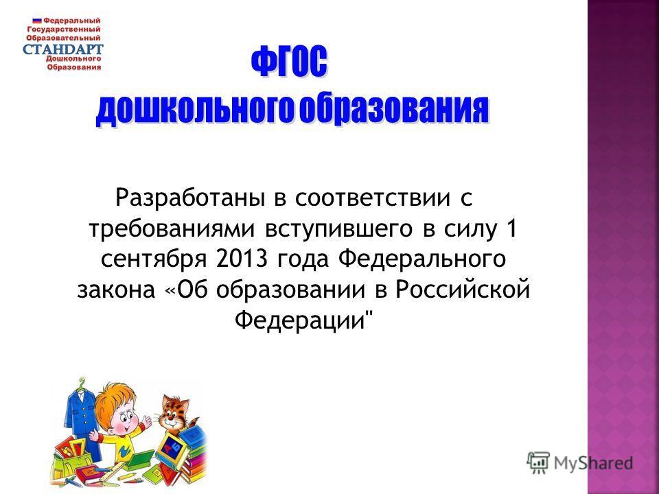 Разработаны в соответствии с требованиями вступившего в силу 1 сентября 2013 года Федерального закона «Об образовании в Российской Федерации