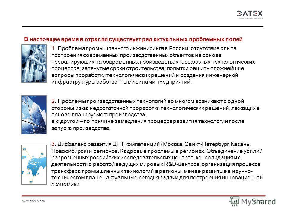 www.eltech.com 9/10 В настоящее время в отрасли существует ряд актуальных проблемных полей 1. Проблема промышленного инжиниринга в России: отсутствие опыта построения современных производственных объектов на основе превалирующих на современных произв