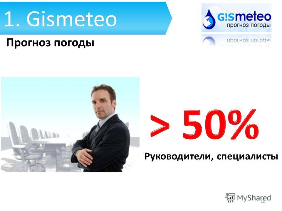 Руководители, специалисты 1. Gismeteo Прогноз погоды 10