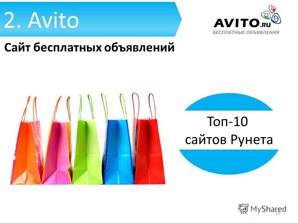2. Avito Сайт бесплатных объявлений Топ-10 сайтов Рунета 11