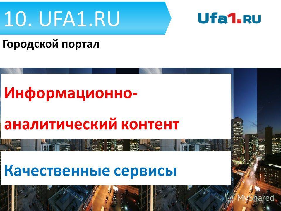 10. UFA1. RU 20 Городской портал Качественные сервисы Информационно- аналитический контент