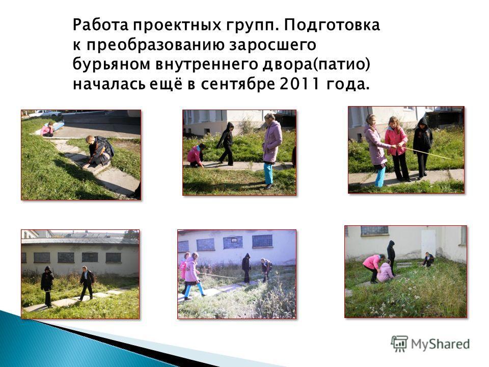 Работа проектных групп. Подготовка к преобразованию заросшего бурьяном внутреннего двора(патио) началась ещё в сентябре 2011 года.