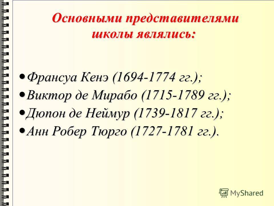 Основными представителями школы являлись: Основными представителями школы являлись: Франсуа Кенэ (1694-1774 гг.); Франсуа Кенэ (1694-1774 гг.); Виктор де Мирабо (1715-1789 гг.); Виктор де Мирабо (1715-1789 гг.); Дюпон де Неймур (1739-1817 гг.); Дюпон