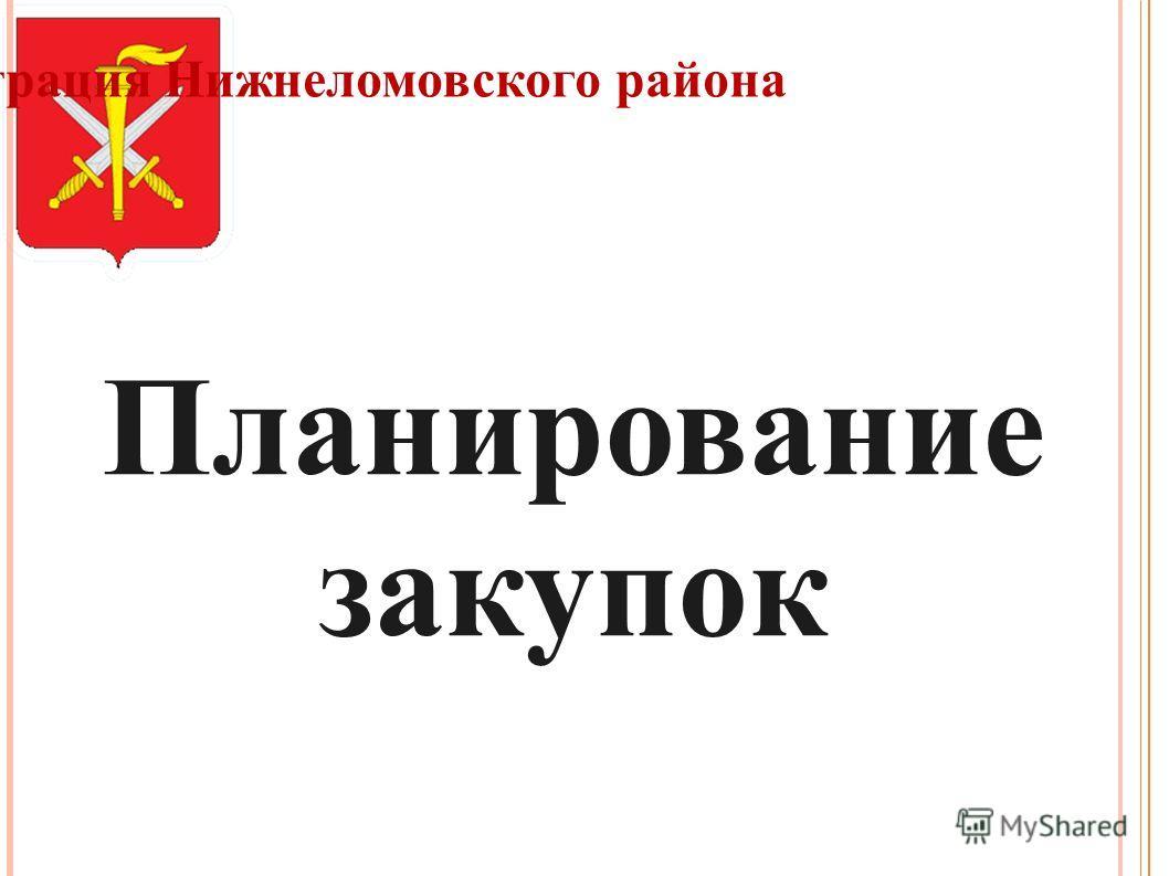 Администрация Нижнеломовского района Планирование закупок