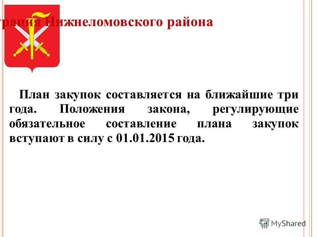 Администрация Нижнеломовского района План закупок составляется на ближайшие три года. Положения закона, регулирующие обязательное составление плана закупок вступают в силу с 01.01.2015 года.