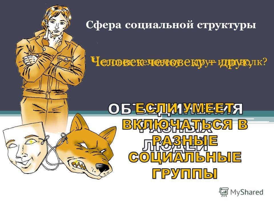 Сфера социальной структуры Человек человеку – друг или волк? Человек человеку – друг,