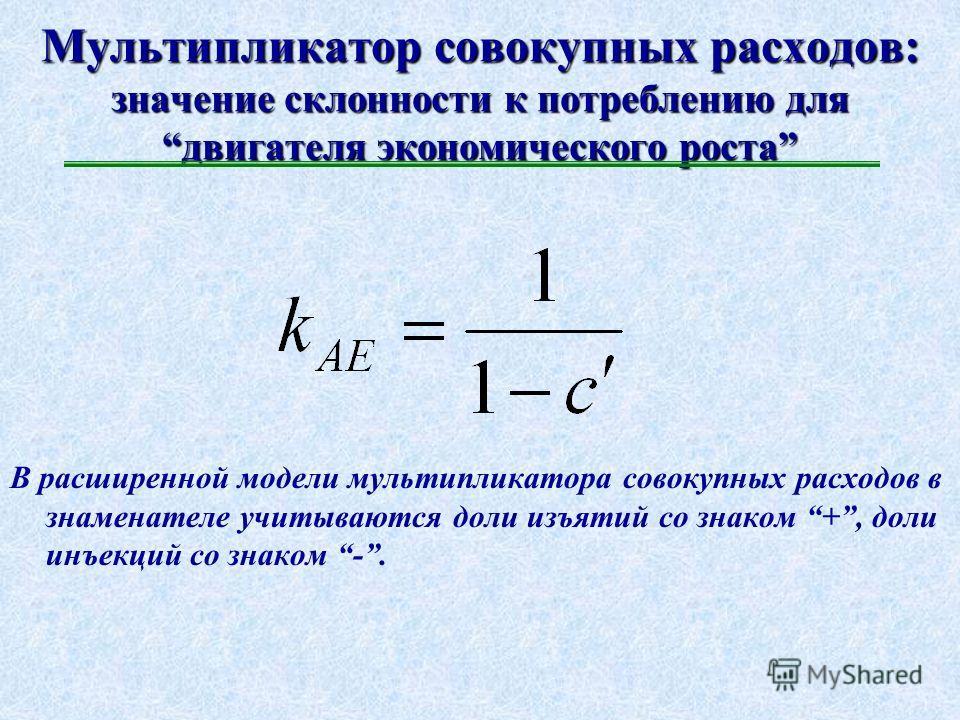 Потребление и сбережения в макроэкономике: простая модель ( Дж.М.Кейнс ) C = f(Y) C = C 0 + c`Y, где С 0 – автономное потребление – предельная склонность к потреблению 0 < c` < 1 S = S 0 + s`Y, где S 0 – автономные сбережения – предельная склонность