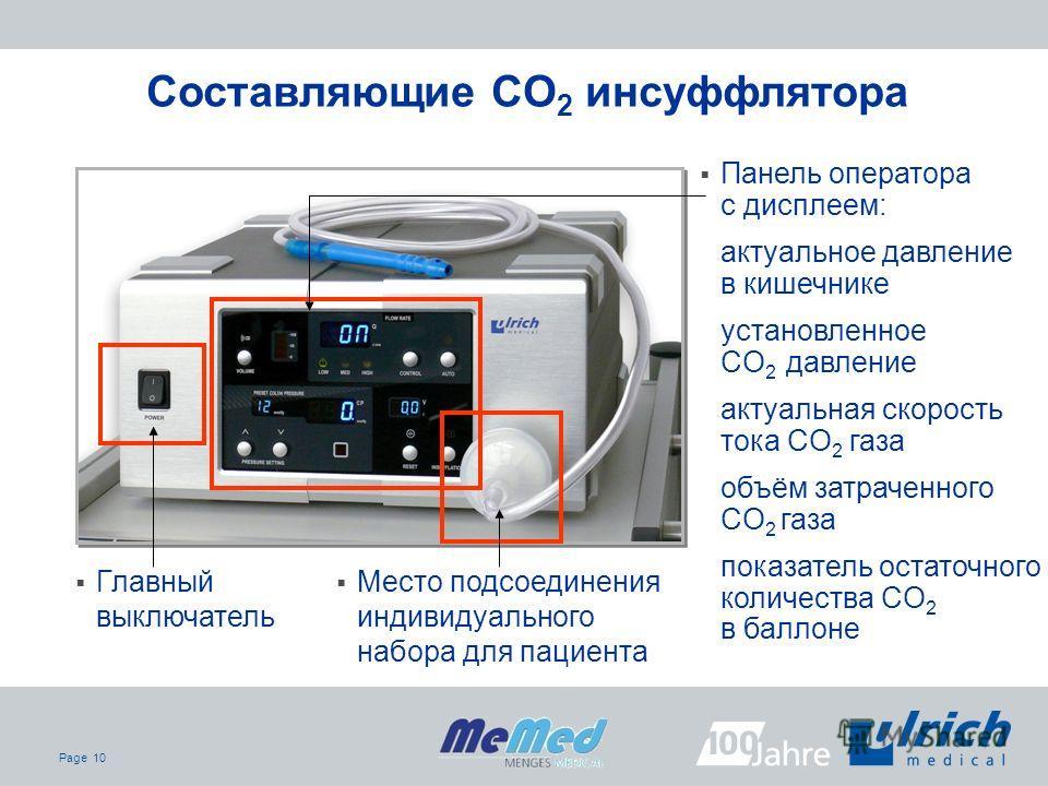 Page 10 Главный выключатель Место подсоединения индивидуального набора для пациента Панель оператора с дисплеем: актуальное давление в кишечнике установленное CO 2 давление актуальная скорость тока CO 2 газа объём затраченного CO 2 газа показатель ос