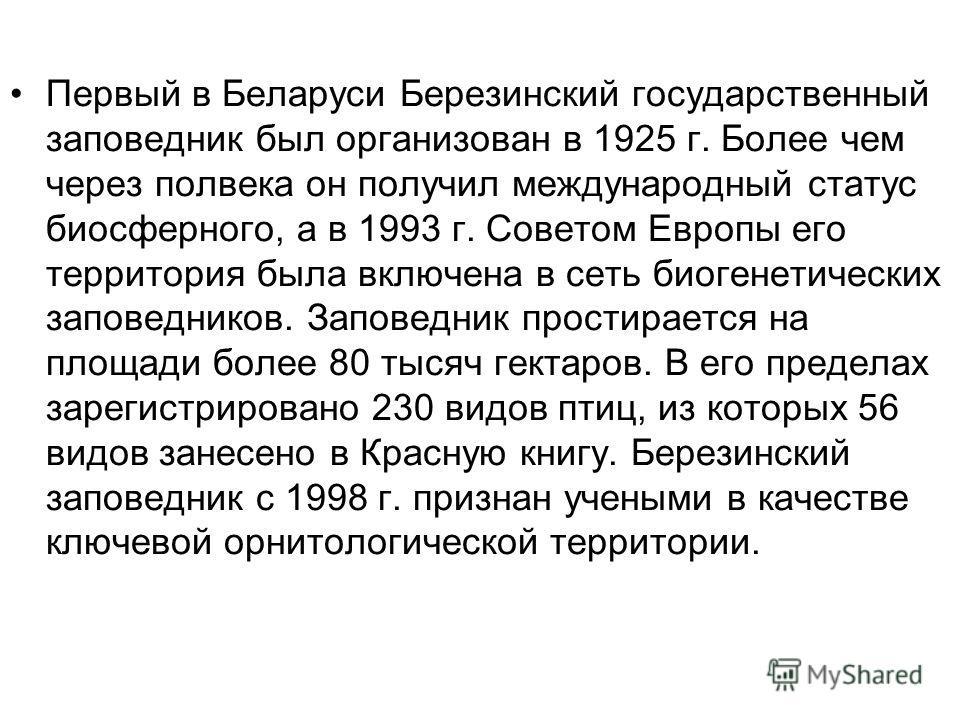 Первый в Беларуси Березинский государственный заповедник был организован в 1925 г. Более чем через полвека он получил международный статус биосферного, а в 1993 г. Советом Европы его территория была включена в сеть биогенетических заповедников. Запов