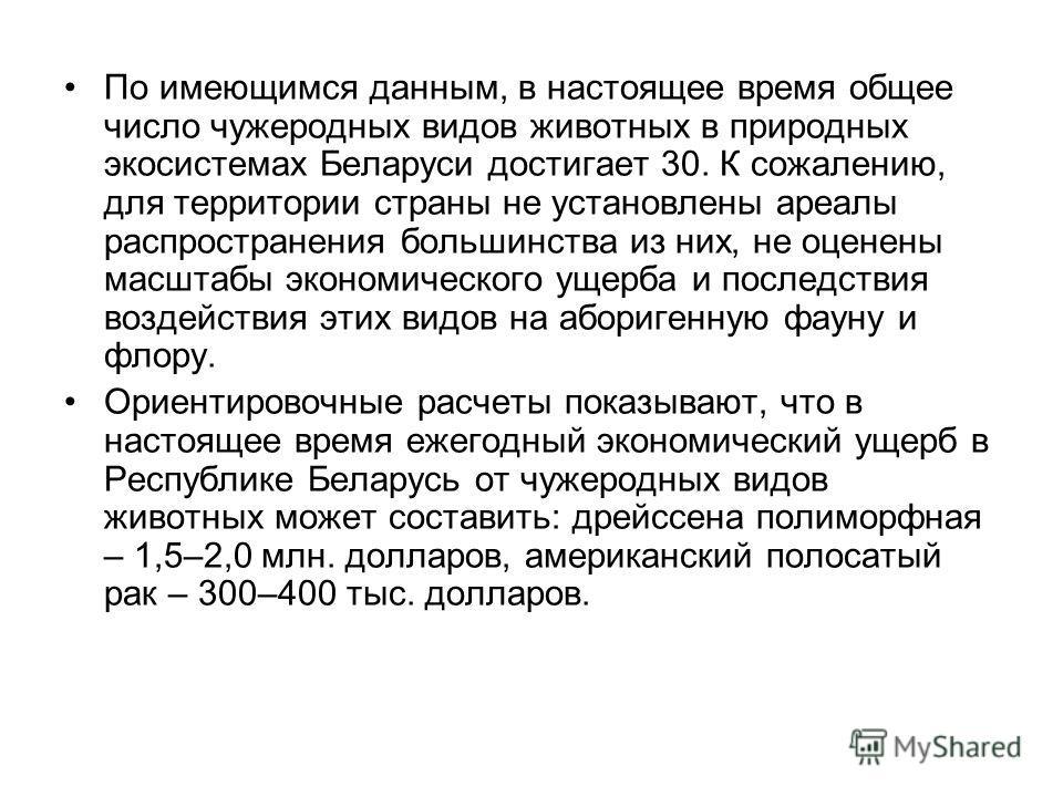 По имеющимся данным, в настоящее время общее число чужеродных видов животных в природных экосистемах Беларуси достигает 30. К сожалению, для территории страны не установлены ареалы распространения большинства из них, не оценены масштабы экономическог