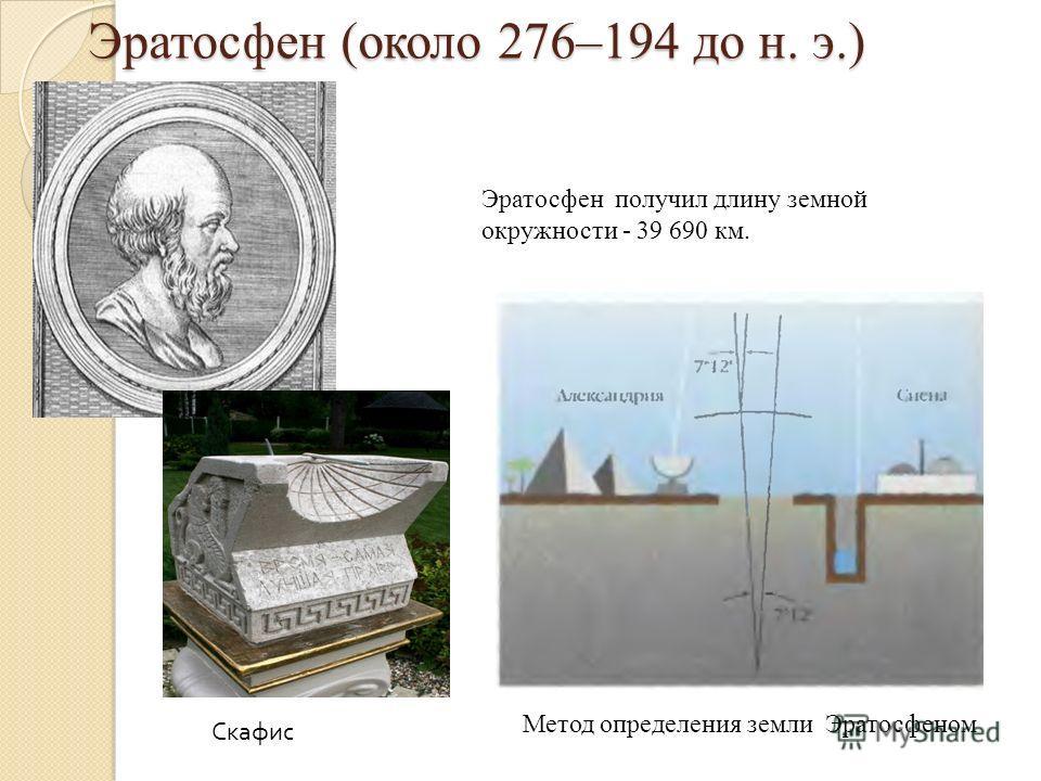 Эратосфен (около 276–194 до н. э.) Эратосфен получил длину земной окружности - 39 690 км. Метод определения земли Эратосфеном Скафис