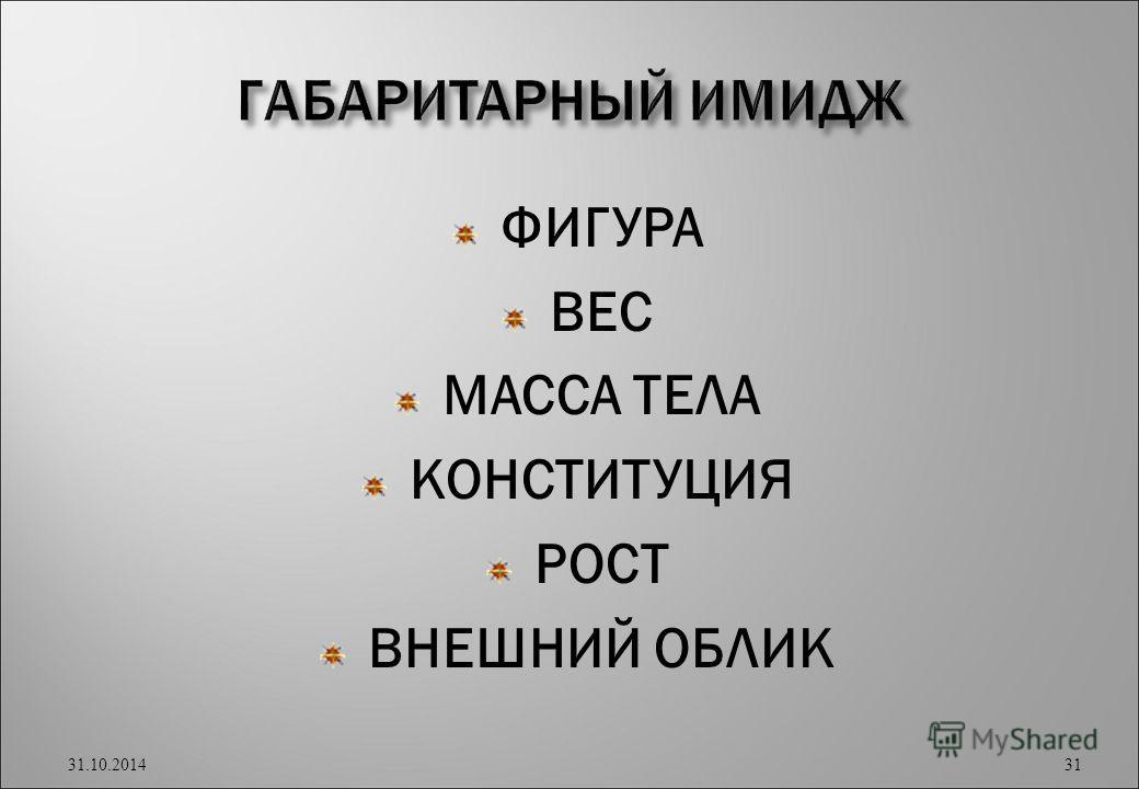 ФИГУРА ВЕС МАССА ТЕЛА КОНСТИТУЦИЯ РОСТ ВНЕШНИЙ ОБЛИК 31.10.2014 31
