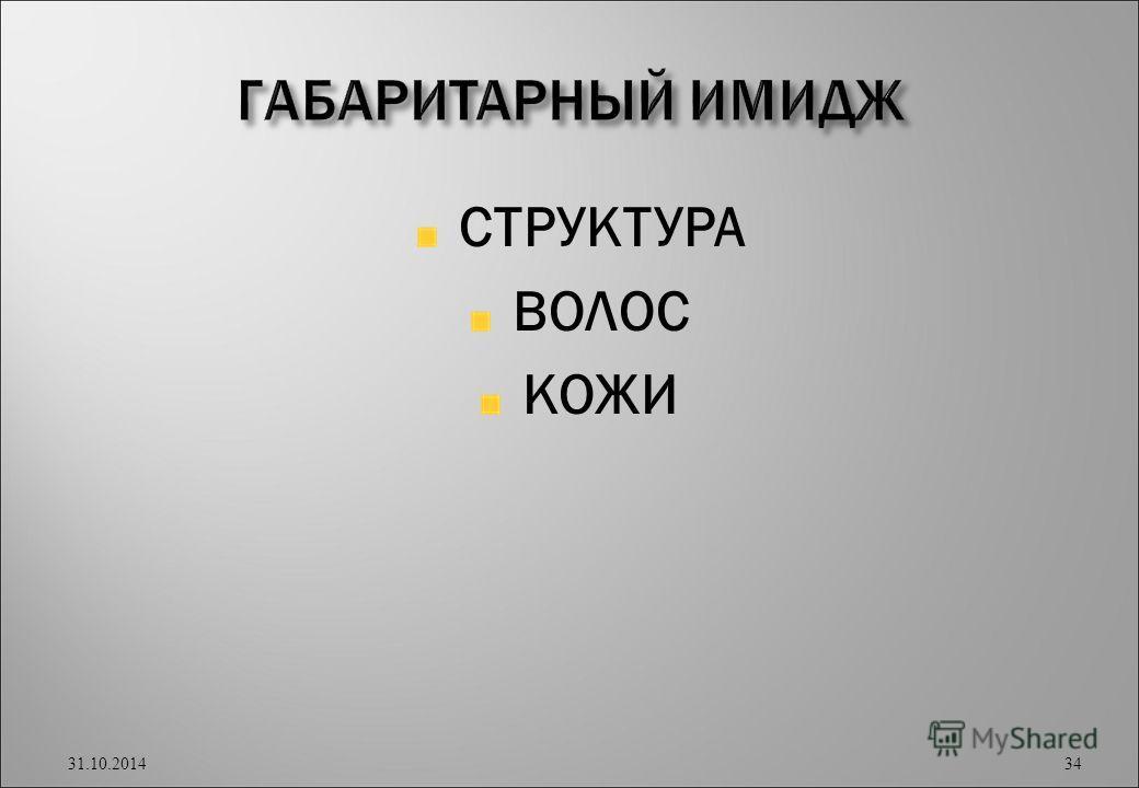 СТРУКТУРА ВОЛОС КОЖИ 31.10.2014 34