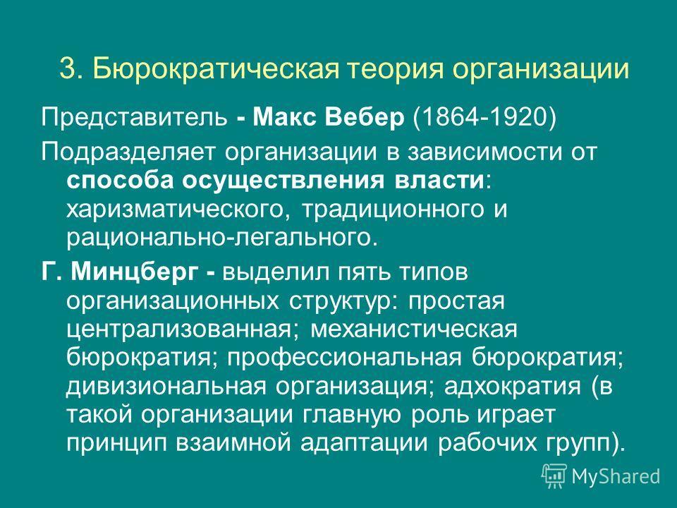 3. Бюрократическая теория организации Представитель - Макс Вебер (1864-1920) Подразделяет организации в зависимости от способа осуществления власти: харизматического, традиционного и рационально-легального. Г. Минцберг - выделил пять типов организаци