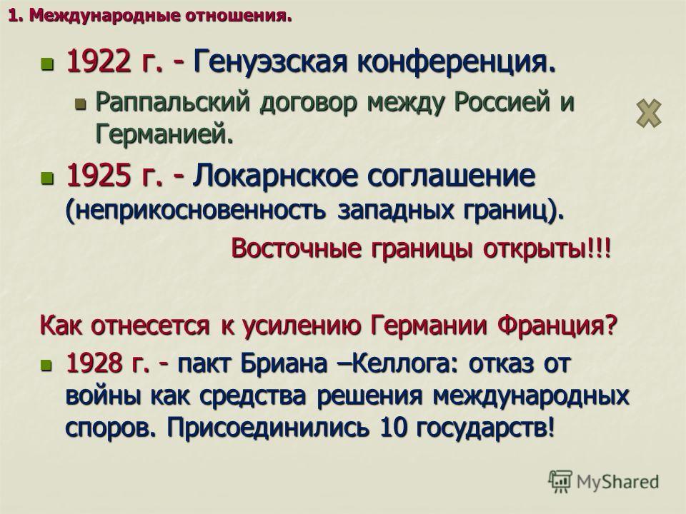 1922 г. - Генуэзская конференция. 1922 г. - Генуэзская конференция. Раппальский договор между Россией и Германией. Раппальский договор между Россией и Германией. 1925 г. - Локарнское соглашение (неприкосновенность западных границ). 1925 г. - Локарнск