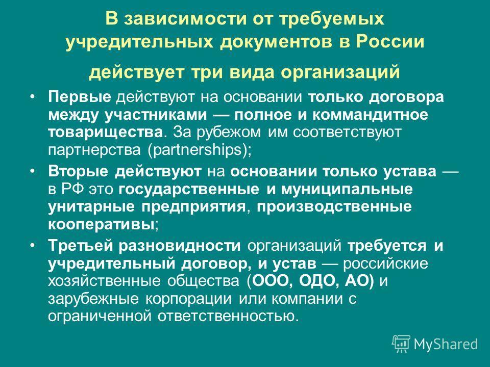 В зависимости от требуемых учредительных документов в России действует три вида организаций Первые действуют на основании только договора между участниками полное и коммандитное товарищества. За рубежом им соответствуют партнерства (partnerships); Вт