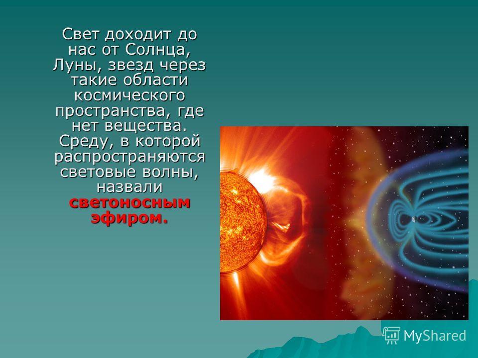 Свет доходит до нас от Солнца, Луны, звезд через такие области космического пространства, где нет вещества. Среду, в которой распространяются световые волны, назвали светоносным эфиром.