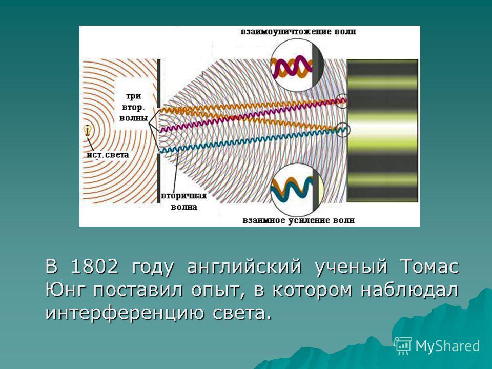 В 1802 году английский ученый Томас Юнг поставил опыт, в котором наблюдал интерференцию света.