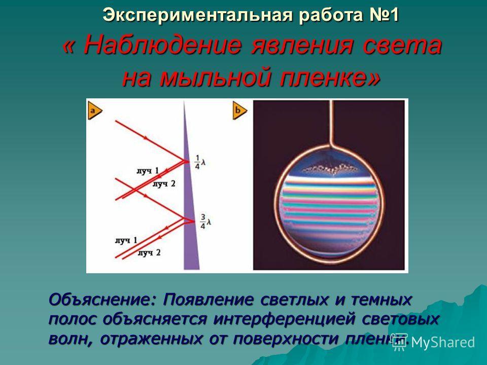 Экспериментальная работа 1 « Наблюдение явления света на мыльной пленке» Объяснение: Появление светлых и темных полос объясняется интерференцией световых волн, отраженных от поверхности пленки.