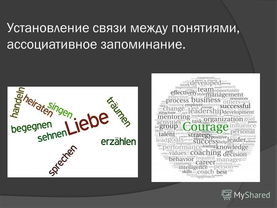 Установление связи между понятиями, ассоциативное запоминание.