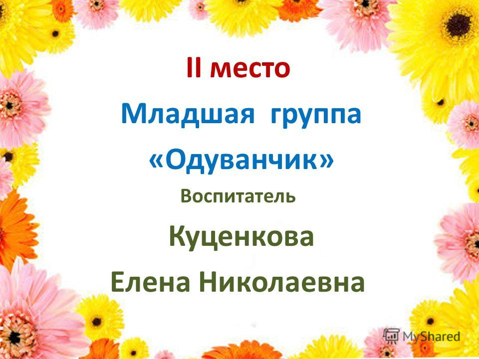 II место Младшая группа «Одуванчик» Воспитатель Куценкова Елена Николаевна