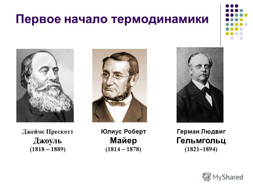 Первое начало термодинамики Юлиус Роберт Майер (1814 – 1878) Герман Людвиг Гельмгольц (1821–1894) Джеймс Прескотт Джоуль (1818 – 1889)