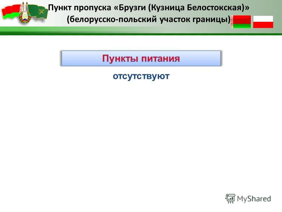 Пункт пропуска «Брузги (Кузница Белостокская)» (белорусско-польский участок границы) отсутствуют
