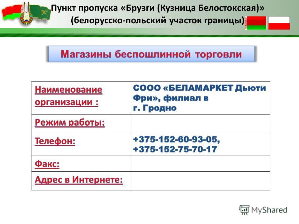 Пункт пропуска «Брузги (Кузница Белостокская)» (белорусско-польский участок границы)
