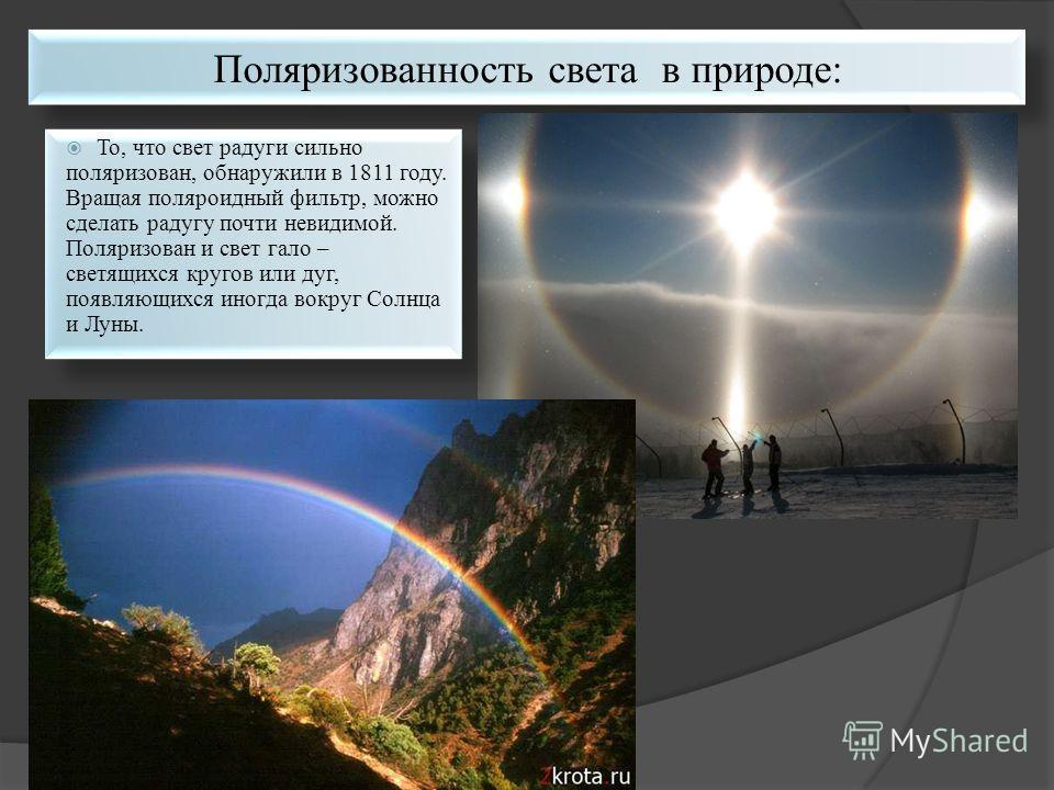 То, что свет радуги сильно поляризован, обнаружили в 1811 году. Вращая поляроидный фильтр, можно сделать радугу почти невидимой. Поляризован и свет гало – светящихся кругов или дуг, появляющихся иногда вокруг Солнца и Луны.
