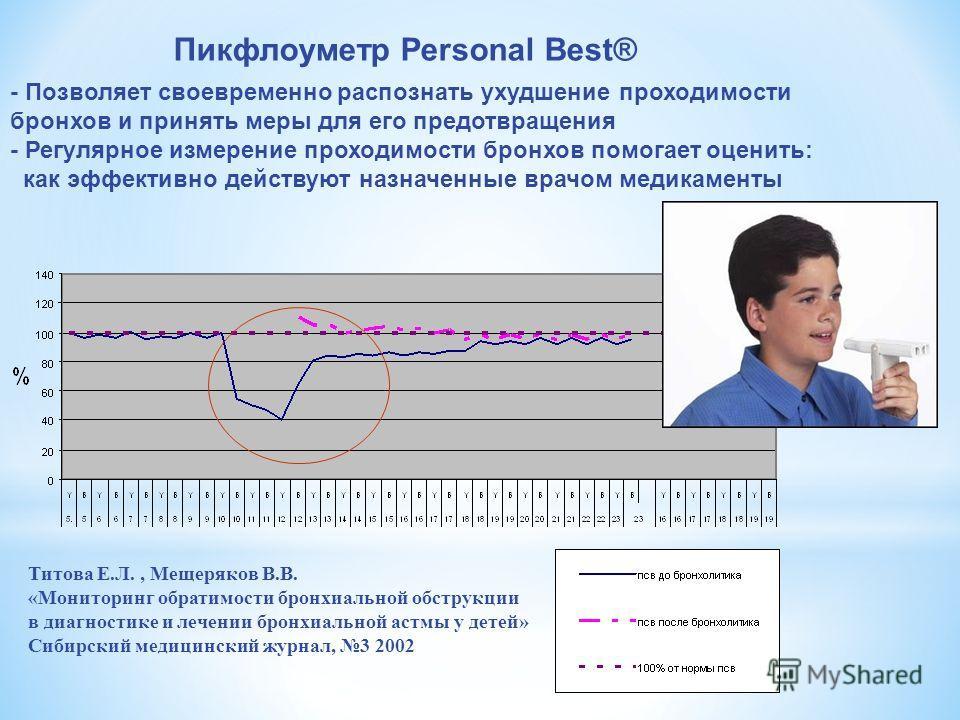 - Позволяет своевременно распознать ухудшение проходимости бронхов и принять меры для его предотвращения - Регулярное измерение проходимости бронхов помогает оценить: как эффективно действуют назначенные врачом медикаменты Пикфлоуметр Personal Best®