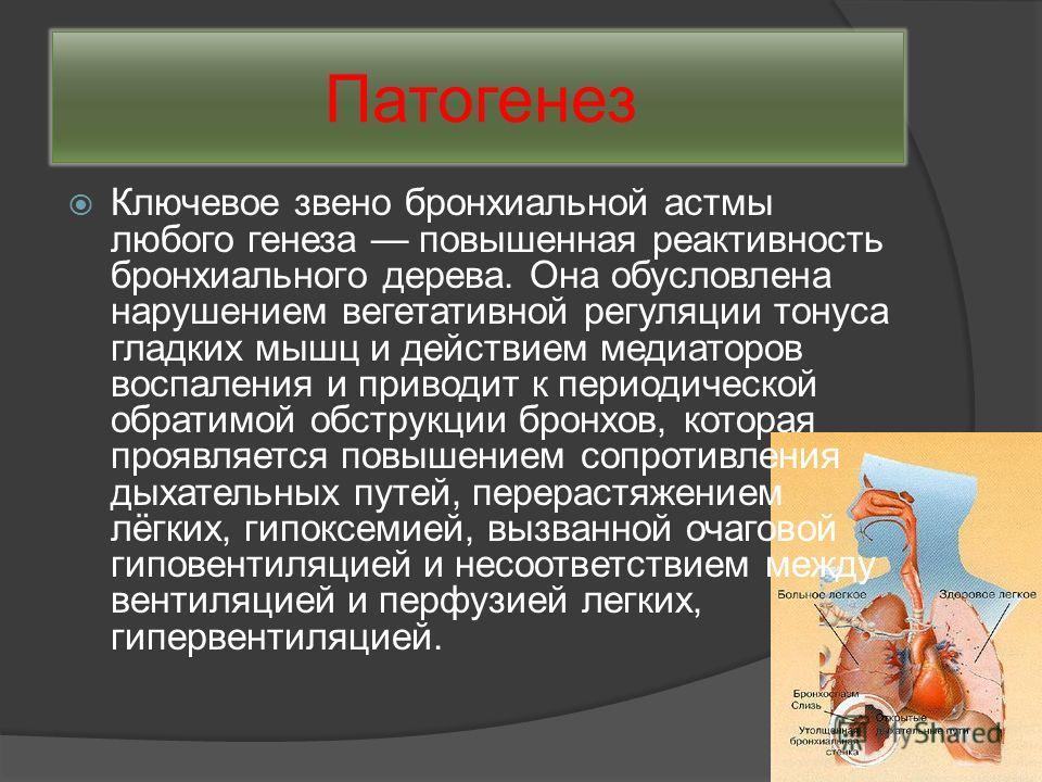 Патогенез Ключевое звено бронхиальной астмы любого генеза повышенная реактивность бронхиального дерева. Она обусловлена нарушением вегетативной регуляции тонуса гладких мышц и действием медиаторов воспаления и приводит к периодической обратимой обстр