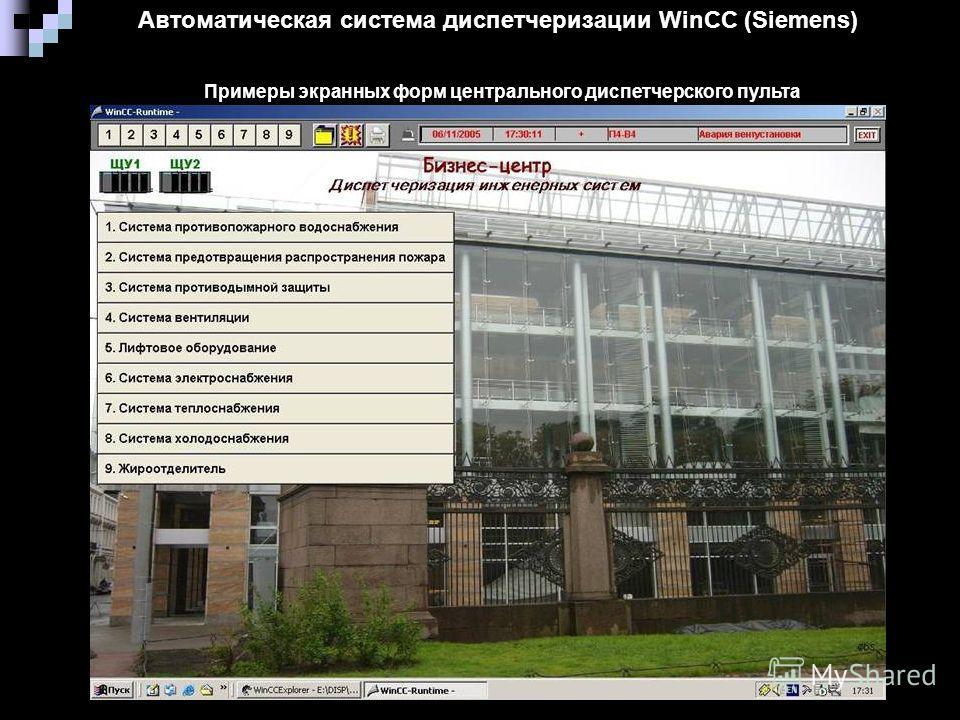 Автоматическая система диспетчеризации WinCC (Siemens) Примеры экранных форм центрального диспетчерского пульта